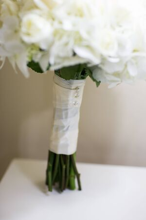 nosegay: Close up of a beautiful bridal flower bouquet on a wedding day Stock Photo