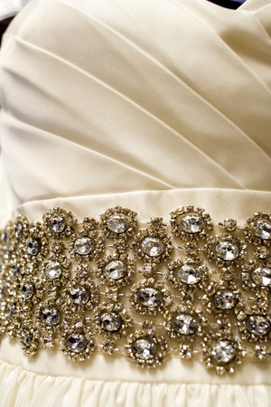 Close up of the bridal wedding dress and showing the details
