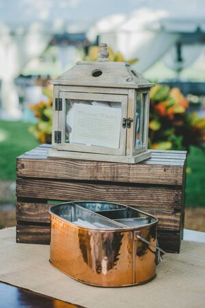 Rustic Wedding Card Wishes holder on the table