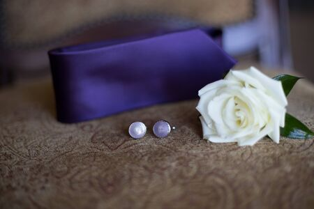 Grooms boutonniere attire Stock Photo