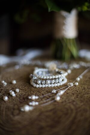 Bridal Jewelry with pearlsn and silver Фото со стока