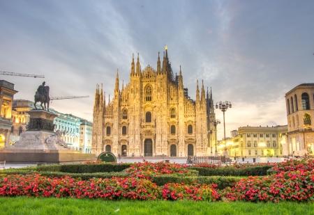 beautiful view of Duomo cathedral,Milan photo