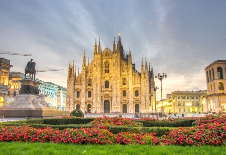 beautiful view of Duomo cathedral,Milan