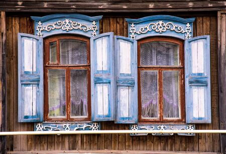 dacha: Close up view of original russian windows Stock Photo