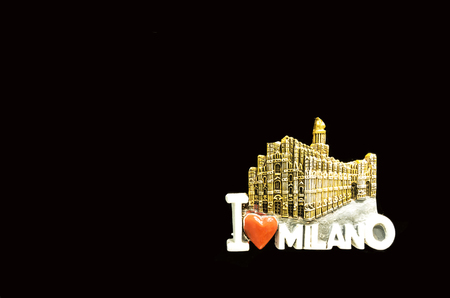 I love milan souvenir on black isolated background photo