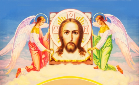 saintliness: Icon of Jesus Christ painted with beautiful colors
