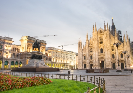 milano: Impressive image of Duomo cathedral and Vittorio Emanuele gallery Stock Photo