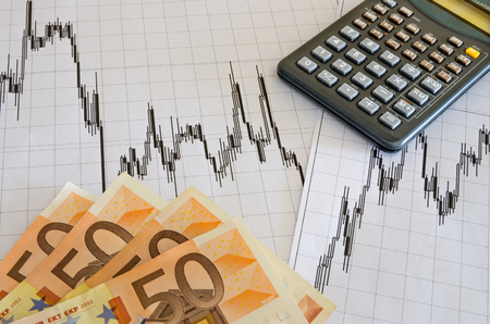 money and calculator on on technical analysis graphics photo