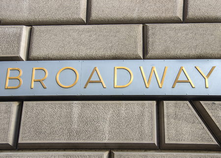 Broadway sign on a wall in New York photo
