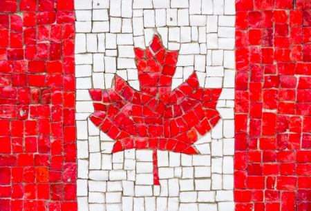 canadian icon: Canadian flag with mosaic texture