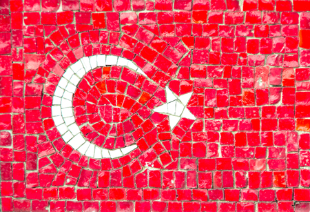 turkish flag: Flag of Turkey with mosaic texture