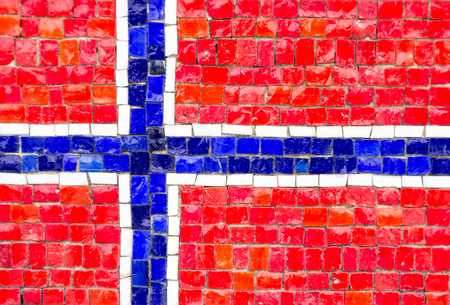 norwegian flag: Norwegian flag with mosaic texture