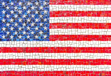 u s: Flag of U S A  with mosaic texture