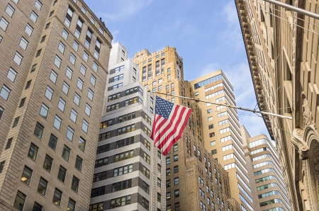 federal: View of Wall Street,the financial district of New York Stock Photo