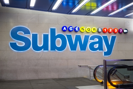 subway entrance: Subway entrance in New York Editorial