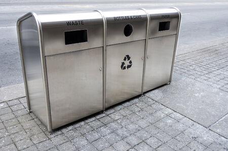 clean street: Recycling trash bins on the street  Stock Photo
