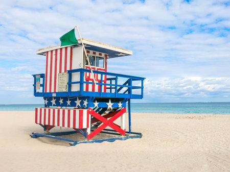 Lifeguard hut in South Beach,Miami