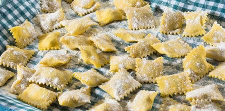 italian foods: handmade ravioli Stock Photo