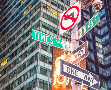 one way sign: Times Square street sign in New York