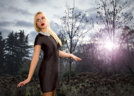 avantegarde: girl gets lost in a gloomy wood