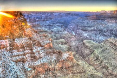 prehistoric: Panoramic view of Grand Canyon at sunset