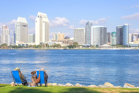 diego: Couple relaxing and watching San Diego skyline