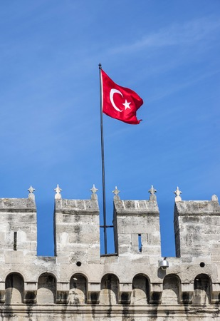 topkapi: Topkapi Palace and Turkish flag,Istanbul