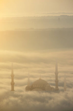 composit: Blue Mosque view from above the clouds,Istanbul