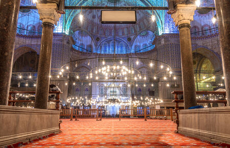 Interior of the Sultanahmet Mosque (Blue Mosque) in Istanbul