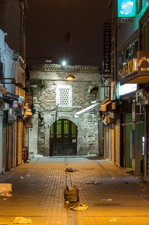 constantinople:  ISTANBUL, FEBRUARY 18, 2014: One of the smaller entrances to the Grand Bazaar in Istanbul, Turkey. One of the largest & oldest covered markets in the world