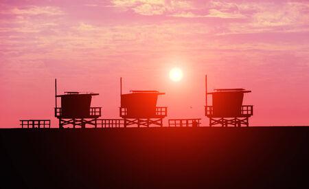 carlsbad: Lifeguard towers at Venice Beach,California