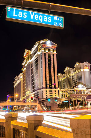LAS VEGAS - DECEMBER 6, 2013: Caesars Palace and The Strip,Las Vegas. Caesars Palace opened in the 1960s and has a Roman Empire theme.