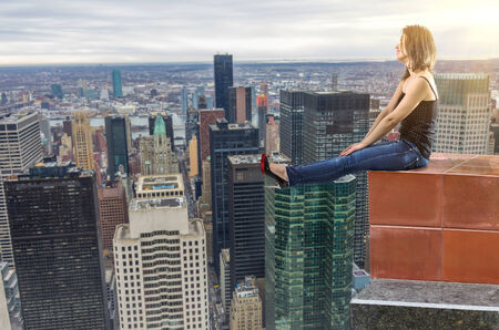 top of the world: girl on the top of the city