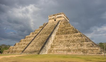 Storm over  Kukulkan pyramid in Chichen Itza, Mexico photo