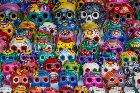 mexico culture: Colorful skulls souvenirs from Mexico Stock Photo