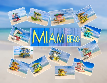 Collage of Miami Beach lifesaver hut postcards