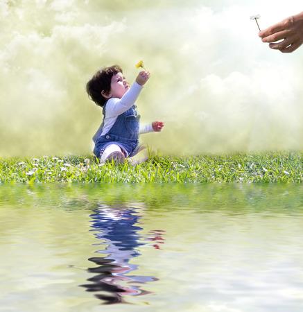 mano de dios: bebé y dios