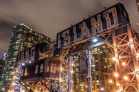 new york night: Long Island pier and skyline,New York