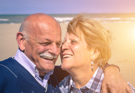 elderly couple: happy couple on vacation  Stock Photo