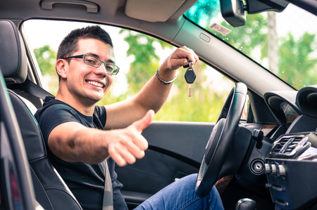 happy man in his car Stock Photo