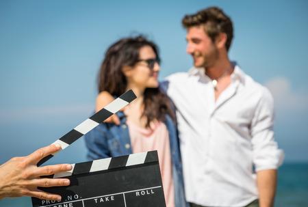 action movie: couple of actors Stock Photo