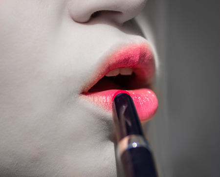prostitution: woman and makeup Stock Photo