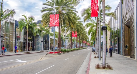 BEVERLY HILLS, CA - DECEMBER 19,2013: Rodeo Drive in Beverly Hills. Rodeo Drive is an affluent shopping district known for designer label and haute couture fashion