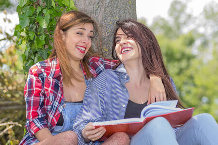 lesbian girls: friends studying Stock Photo
