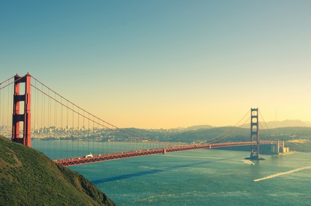 bay: Panoramic view of Golden Gate brige in San Francisco