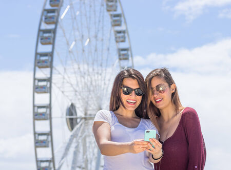 theme parks: selfie at the amusement park