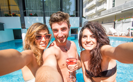 pool party: selfie in the swimming pool