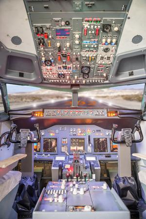 Jet aircraft cockpit photo