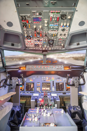 aerospace industry: Jet aircraft cockpit