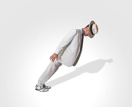 moonwalk: dancer perform lean move Stock Photo